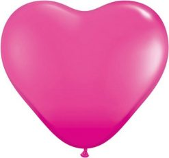 "6"" / 15cm Solid Colour Heart Latex Wild Berry Qualatex #30213-1"