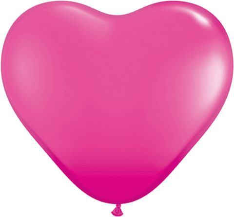 "6"" / 15cm Solid Colour Heart Latex Wild Berry Qualatex #30213-1"