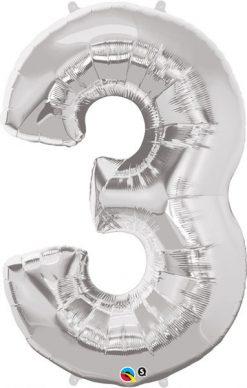 "34"" / 86cm Number Three Silver Qualatex #30409"