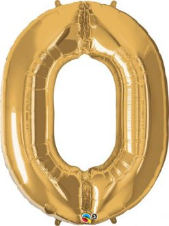 """34"""" / 86cm Number Zero Metallic Gold Qualatex #30469"""
