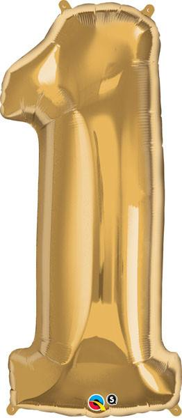"34"" / 86cm Number One Metallic Gold Qualatex #30473"
