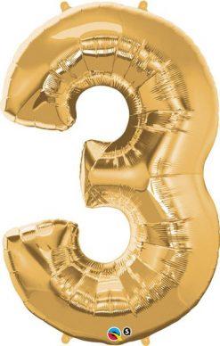 "34"" / 86cm Number Three Metallic Gold Qualatex #30481"