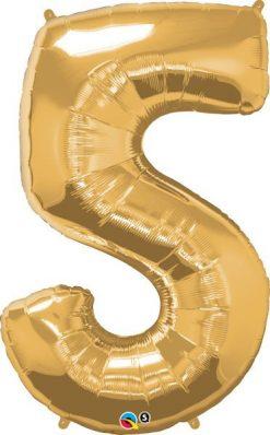 "34"" / 86cm Number Five Metallic Gold Qualatex #30489"