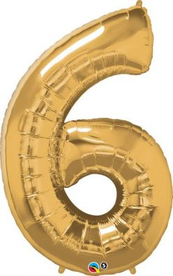 "34"" / 86cm Number Six Metallic Gold Qualatex #30493"