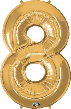 """34"""" / 86cm Number Eight Metallic Gold Qualatex #30501"""