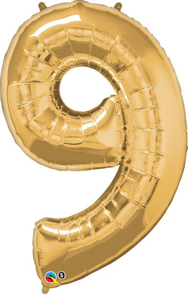 "34"" / 86cm Number Nine Metallic Gold Qualatex #30505"