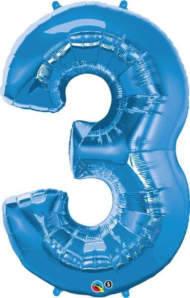 "34"" / 86cm Number Three Sapphire Blue Qualatex #30523"