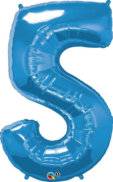 "34"" / 86cm Number Five Sapphire Blue Qualatex #30531"
