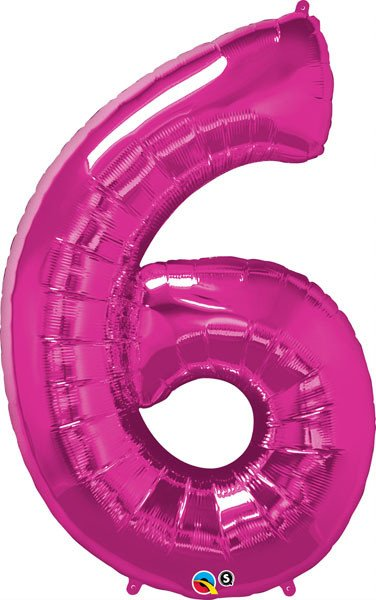 "34"" / 86cm Number Six Magenta Qualatex #30575"