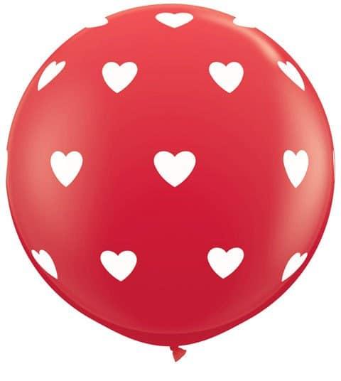 3' / 91cm Big Hearts Red Qualatex #31089-1