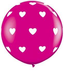 3' / 91cm Big Hearts Wild Berry Qualatex #31416-1