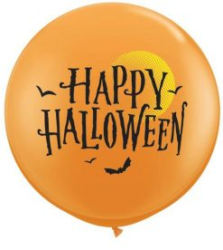 "3"" / 91cm Halloween Moon & Bats Orange Qualatex #31465-1"