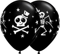 "11"" / 28cm Dancing Skeleton & Top Hat Qualatex #33249-1"