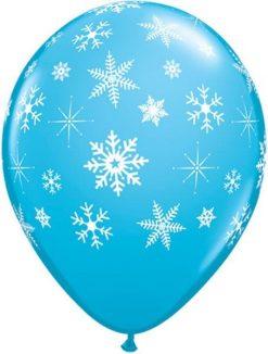 "11"" / 28cm Snowflakes & Sparkles A Round Robin""s Egg Blue Qualatex #33531-1"