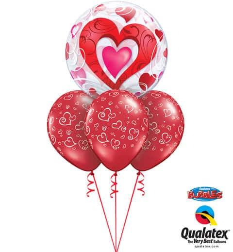 Bukiet 695 Ruby Red Hearts & Valentine Bubble #33909 76876-3