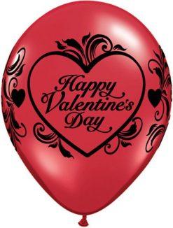 "11"" / 28cm Valentine""s Filigree Ruby Red Qualatex #35127-1"