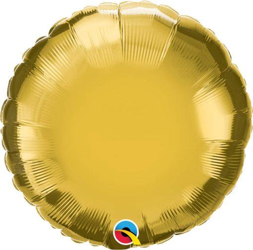 """18"""" / 46cm Solid Colour Round Metallic Gold Qualatex #99585"""