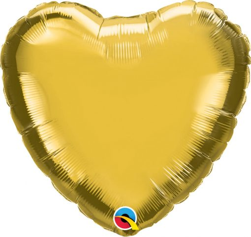 "18"" / 46cm Solid Colour Heart Metallic Gold Qualatex #99597"