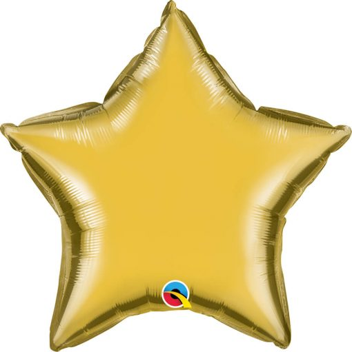 "20"" / 51cm Solid Colour Star Metallic Gold Qualatex #99609"