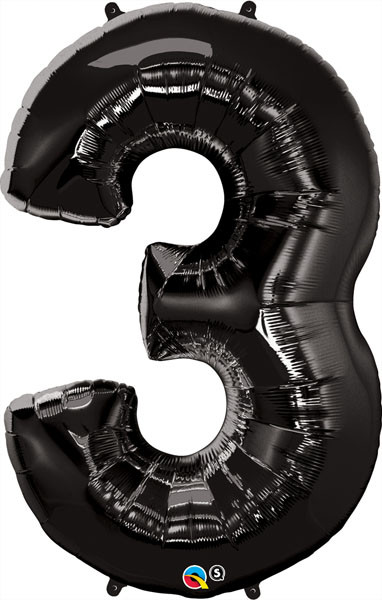 "34"" / 86cm Number Three Black Qualatex #36332"