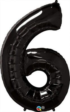 "34"" / 86cm Number Six Black Qualatex #36349"