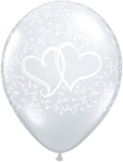"11"" / 28cm Entwined Hearts Diamond Clear Qualatex #37200-1"