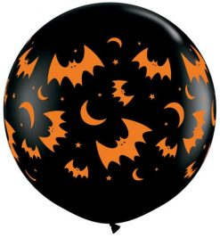 "3"" / 91cm Flying Bats & Moons Onyx Black Qualatex #39124-1"