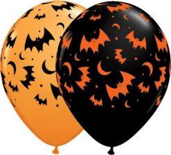 "11"" / 28cm Haunted Halloween Bats & Moons Qualatex #40070-1"
