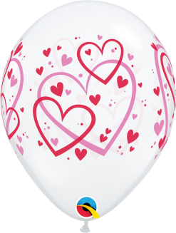 "11"" / 28cm Red & Pink Pattern Hearts Diamond Clear Qualatex #40295-1"