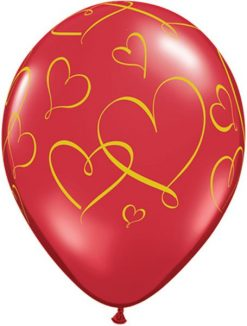 "11"" / 28cm Romantic Hearts Ruby Red Qualatex #40862-1"