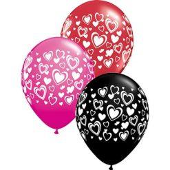 "11"" / 28cm Double Hearts Onyx Black, Red, & Wild Berry Qualatex #40863-1"