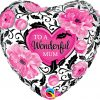 "18"" / 46cm Wonderful Mum Floral Damask Qualatex #41830"