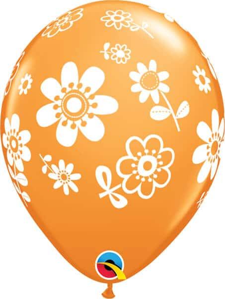"11"" / 28cm Contempo Daisies Asst Orange, Robin's Egg Blue & Wild Berry Qualatex #41873-1"