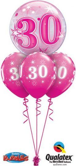 Bukiet 169 Birthday Pink Starburst Sparkle Qualatex #43121 44924-3
