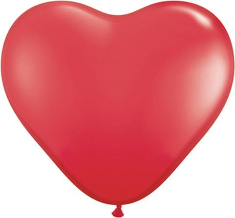 """6"""" / 15cm Solid Colour Heart Latex Red Qualatex #43645-1"""