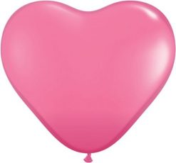 "6"" / 15cm Solid Colour Heart Latex Rose Qualatex #43646-1"