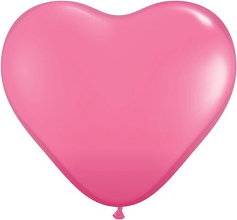 "6"" / 15cm Solid Colour Heart Latex Rose Qualatex #43646-1"