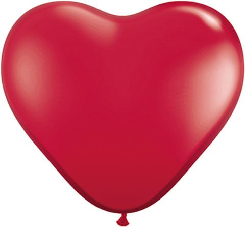 """6"""" / 15cm Solid Colour Heart Latex Ruby Red Qualatex #43647-1"""