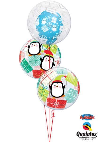 Bukiet 610 Penguins & Presents Bubbles Qualatex #44649 43438-2 52004