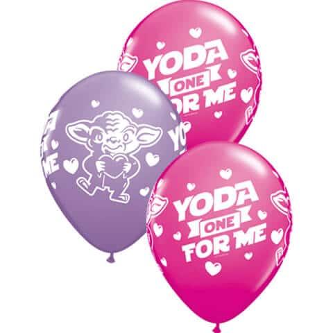 "11"" / 28cm Star Wars: Yoda One For Me AssortedWild Berry & Spring Lilac Qualatex #46065-1"