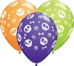 """11"""" / 28cm Fun Skulls & Eyeballs Qualatex #46510-1"""
