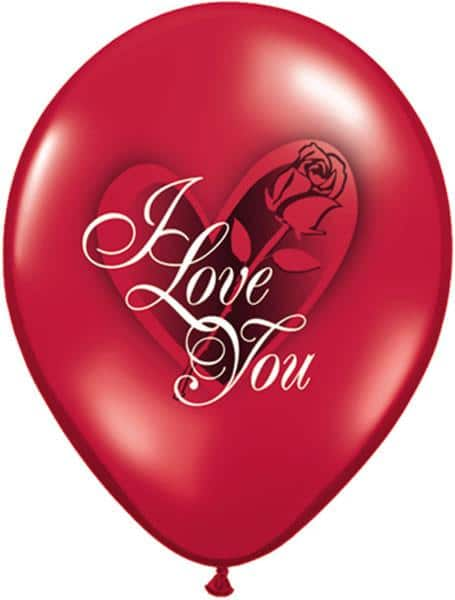 """11"""" / 28cm 6szt I Love You Red Rose Ruby Red Qualatex #23400"""