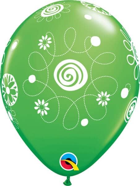 "11"" / 28cm Scribble Circles & Flowers AsstWild Berry, Spring Green, Tropical Teal & Goldenrod Qualatex #48371-1"