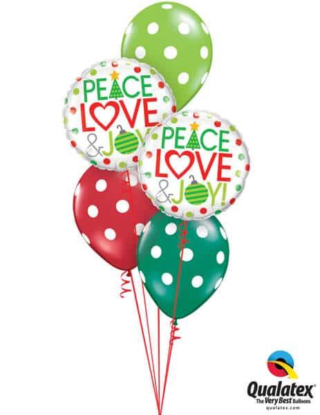 Bukiet 612 Peace, Love, & Christmas Joy Dots Qualatex #52099-2 38469-3