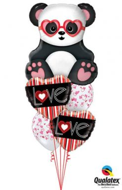 Bukiet 688 Vertical Stripe Valentine Hearts & Panda #54882 21689-2 38433-2