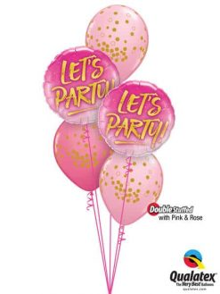 "Bukiet 632 Pink & Rose ""Let's Party!"" Qualatex #57301-2 56844-3 43766-2 43791"