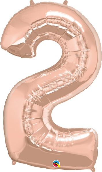 """34"""" / 86cm Number Two Rose Gold Qualatex #57873"""