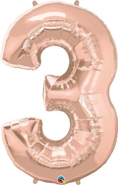 """34"""" / 86cm Number Three Rose Gold Qualatex #57874"""