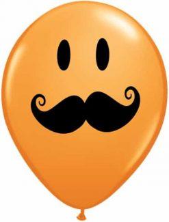 """11"""" / 28cm Smile Face Mustache Asst Orange, Robin's Egg Blue, Wild Berry, & Lime Green Qualatex #60044-1"""