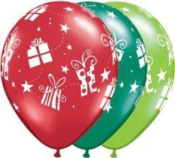 "11"" / 28cm Presents & Star Asst Emerald Green Ruby Red, & Lime Green Qualatex #60126-1"